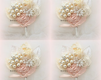 Brooch Boutonnieres, Blush, Pink, Ivory, Cream, Corsages, Groom, Groomsmen, Vintage Wedding, Button Hole, Mother of the Bride, Pearls
