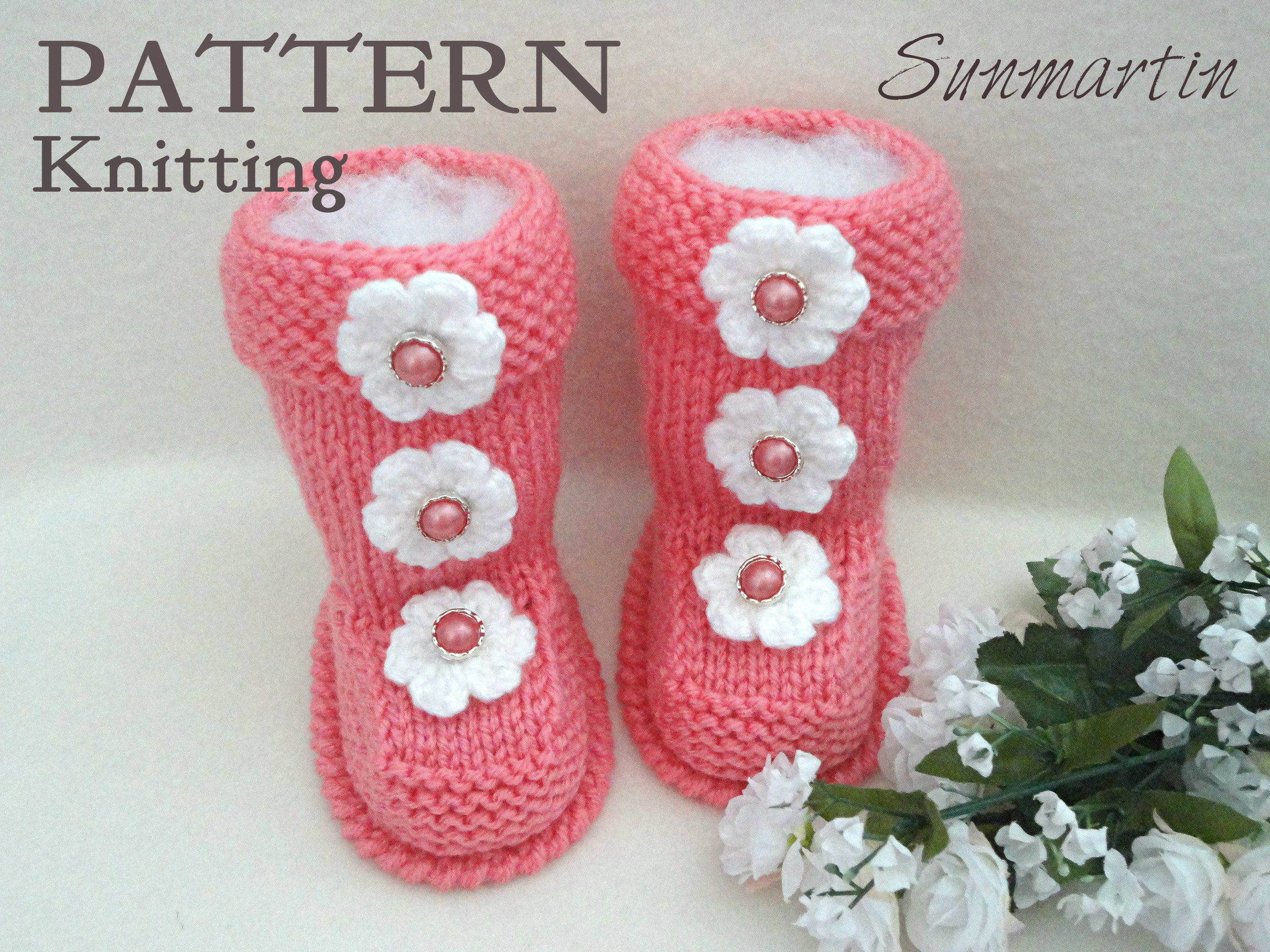 Knitting PATTERN Baby Shoes Baby Booties Knitted Baby Booty Baby ...