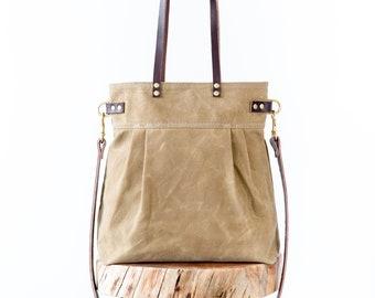 Waxed Canvas Charlie bag, Field Tan waxed canvas tote, waxed canvas crossbody bag, shoulder bag, carryall, convertible bag, pleated tote