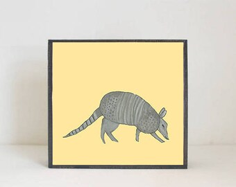 southwestern nursery art -armadillo wall art- animal prints- gender neutral baby- southwest children wall decor- nursery- redtilestudio