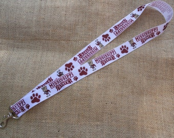 Mississippi State Bulldogs Inspired Ribbon Lanyard - collegiate ribbon lanyard - with swivel clasp and split ring