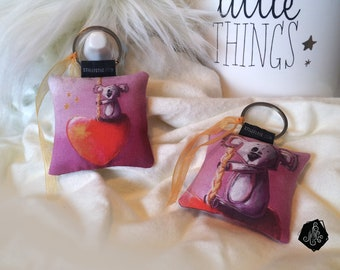 1 x fabric Keychain / bag Illustration Koala heart charm handmade