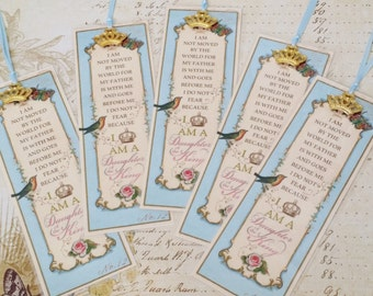 """Set of 5 Daughter of the King Bookmark Princess Party Favor """"ROBINS EGG BLUE"""" Sunday School Class Inspirational Gift Strength4theJourney"""