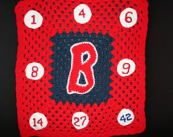 Boston Red Sox baby afghan  - a one of a kind item  - The ultimate baby shower gift