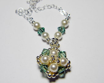 """Custom Color Glass Pearl and Swarovski Crystal AB Necklace Silver Seed Beads Beadweaving Sterling Silver - """"Audrey"""""""