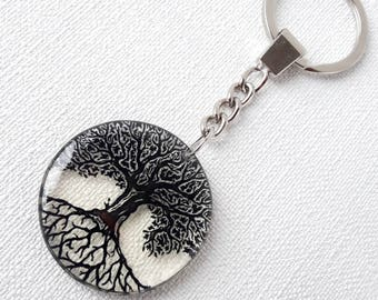 Tree of life black family tree round keychain transparent grandpa gift for granny Handmade Keychain tree of life keyring car accessory bag
