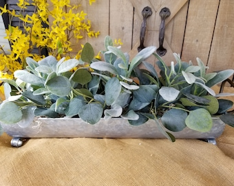 Farmhouse Cotton And Lambs Ear Arrangement In Square Wood