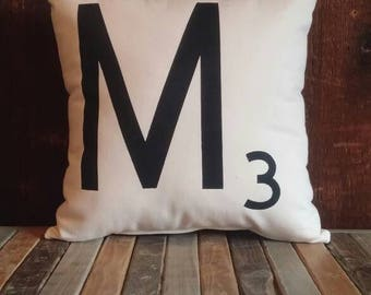 Scrabble Pillow, Personalized Letter, Initial Pillow, Pillow Cover, Farmhouse Pillow, Accent Pillow, Decorative Pillow, Wedding Gift