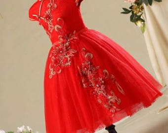 Ready for 1-2 Day Shipping! Red Cheongsam Tutu Dress for Kids Chinese New Year