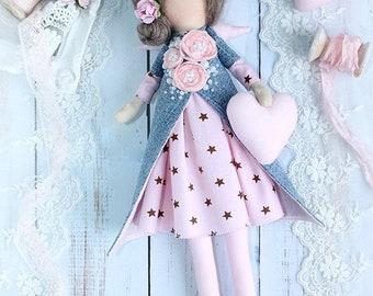 Mini Tilda Doll Guardian angel Victoria, textile doll, handmade doll, handmade doll, handmade doll for baby room