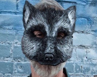 Silver Fox mask,  fox mask, silver fox, fox costume, couple costume, shaggydog costume, black wolf mask, men man costume, ready to ship!