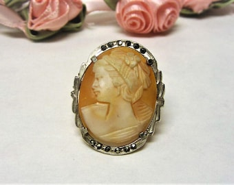 1940s Shell Cameo Brooch with Marcasite 800 Silver Cameo Pin Lady Facing Right