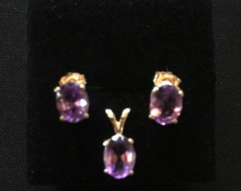 Purple Amethyst 14ct Gold Earrings and Pendant Matching Set