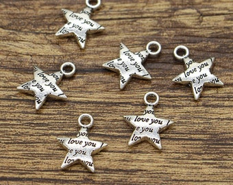 50pcs Star Charms Love You Charms Word Chamrs Antique Silver Tone 13x16mm cf1773