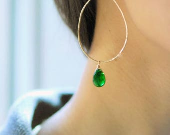 Chrome diopside gemstone drops on large minimalist pear hoops