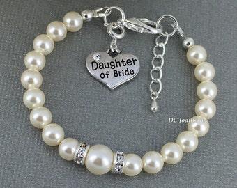 Daughter of Bride Bracelet Charm Bracelet Gift for Daughter of Bride Wedding Bracelet Thank You Gift