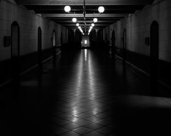 Black & White Photography - Darkened Hallway - fine art print wall photo home decor monochrome shadow dark perspective