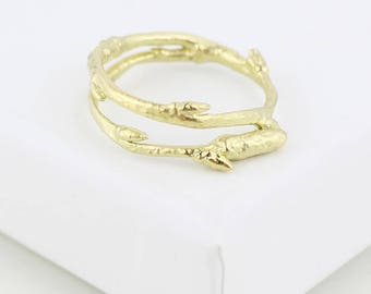 18ct Solid Gold Twig ring, Nature ring, 18ct gold ring, alternative engagement ring.