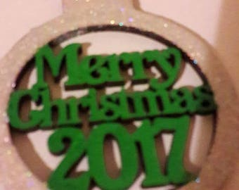 Merry Christmas 2017, bauble, handpainted, wooden decorations, baubles,  christmas baubles,