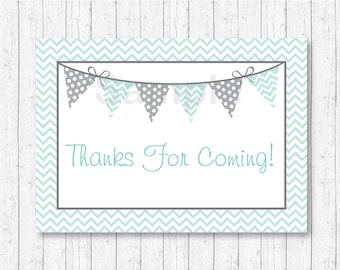 Green Chevron Party Favor Tags / Thank You Tags / Gender Neutral Shower / Baby Blue & Grey Tags / INSTANT DOWNLOAD A230