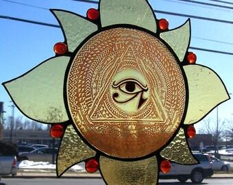 Eye of RA Sun...stained glass sun catcher