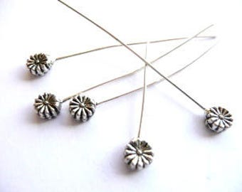 Jewellery Making Findings Antiqued Silver 60mm Daisy Headpins x5