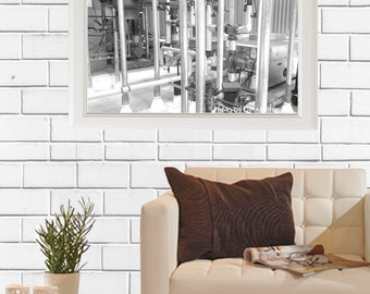 Construction Piping Photograph Digital Download dreamy BLACK and WHITE vintage wall art 8x10