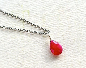 Sookie Necklace - ruby necklace, oxidized sterling silver, pink red ruby necklace, july birthstone, ruby pendant, OS18