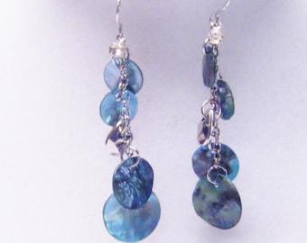 Blue Dangling Shell Bead Earrings