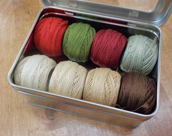 Vintage Christmas thread box...featuring 8 DMC perle cotton balls...no 8