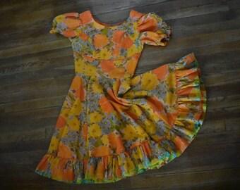 70s H BAR C Western Square Dance Dress