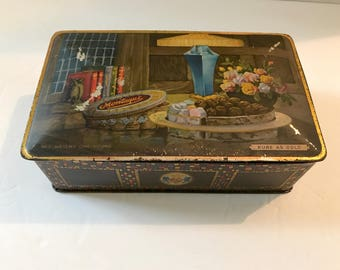 Vintage TINDECO Art Nouveau Pure as Gold CHOCOLATES Hinged Tin Mosiac Shabby Chic Collectible Art Deco