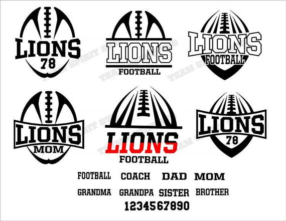 Lions Football Mom Pack Files SVG DXF EPS Silhouette