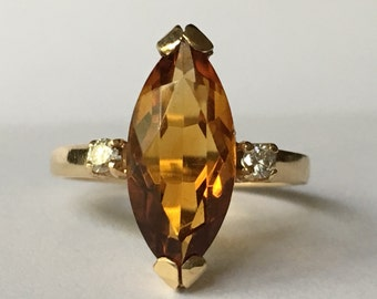 Vintage Citrine Ring. Diamond Accents. 14K Yellow Gold. Estate Jewelry. Unique Engagement Ring. November Birthstone. 13th Anniversary Gift.