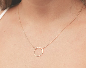 Dainty Circle Necklace Karma Necklace Eternity Everyday Gold Filled or Sterling Silver Necklace Simple Layering Necklace.
