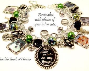 Personalized Cat Charm Bracelet Jewelry, Custom Cat Photo Charm Bracelet, Your Cat's Photos, Cat Memorial Charm Bracelet