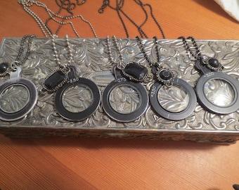1940s Optical Lens Necklace / Black Optical Lens Necklace / Monacle Lens Necklace
