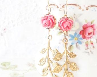 Falling Leaves - Golden Leaf and Flower Earrings - Leaf Branch Dangle Earrings - Long Leaf Earrings - Woodland Leaf Earrings - Pink Flower
