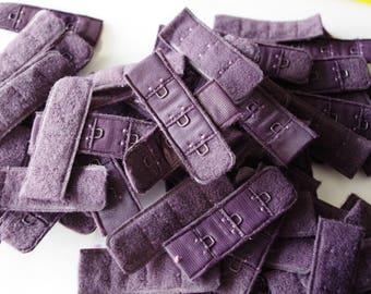 Lot of 10 Bra Hooks - Purple - 2cm- Made in France