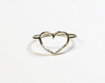 Solid silver heart ring, sterling silver heart ring, silver heart ring, heart ring 1mm wire heart ring, valentiness days ring