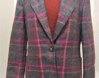 Vintage Liz Claiborne Wool Blazer Wool Plaid Blazer Preppy Blazer Liz Claiborne Blazer Liz Claiborne Wool Coat Plaid Coat Wool Plaid Jacket