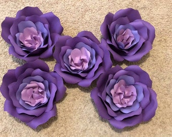 5 large wall paper roses