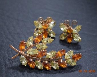 Vintage Rhinestone Brooch and Matching Earrings