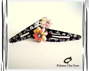 Floral Hair Clip | Polymer Clay HairClips | Black |Silver | Pink | Yellow| Metal Clip |  Handmade | Unique OOAK | Hair Accessories | Jewelry