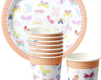 Butterfly party collection Cups and Plates- Free  Peach Luncheon Napkins with Plates