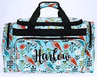 Personalized Birds Duffle Bag, Monogrammed Duffel, Dance Travel Luggage