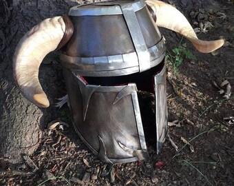 Real Sheet Steel Helmet with Real Rams Horns