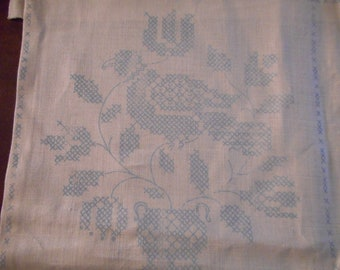 Vintage Extra Large, Linen Napkins stamped for Cross Stitch Embroidery - Set of 12, Jacobean Floral Pattern, Ivory