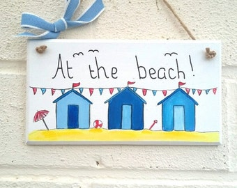 Beach decor Beach sign beach huts wood plaque wood sign seaside handmade hand painted home decor Birthday Christmas gift
