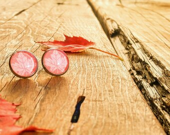 Cabochons - Acier inoxydable - 12 mm - Rouge automne